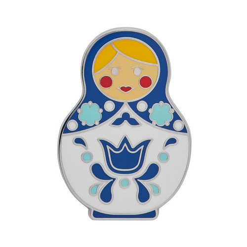 Matryoshka Memories Large Enamel Pin Blue
