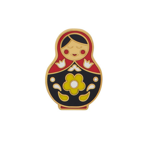 Matryoshka Memories Medium Enamel Pin Red