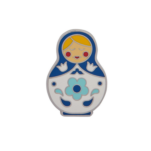 Matryoshka Memories Medium Enamel Pin Blue