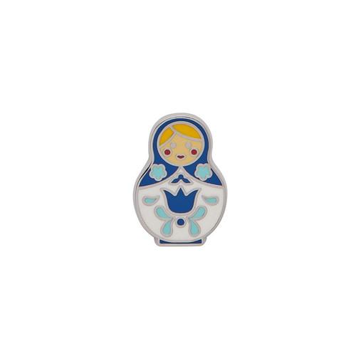 Matryoshka Memories Small Enamel Pin Blue