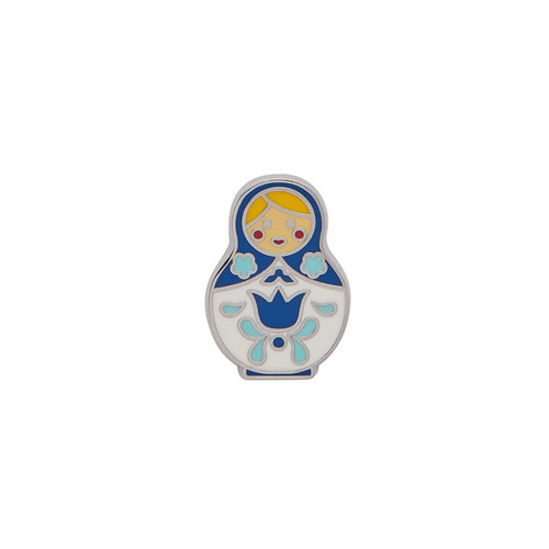 Matryoshka Memories Small Enamel Pin Blue