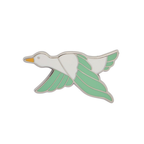 Dancing Duck Enamel Pin Green