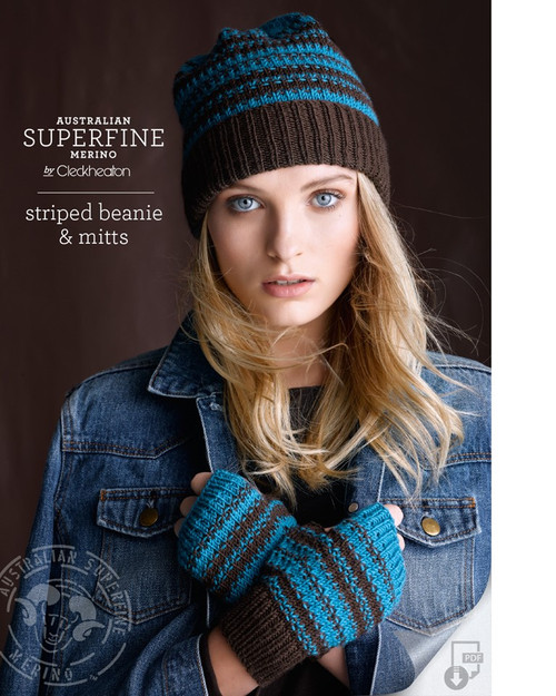 Striped Beanie and mitts Pattern