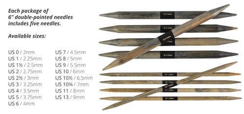 """Lykke DRIFTWOOD 6"""" DPN US 2.5 (3mm) wooden needles"""