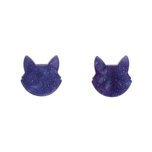 Erstwilder Cat Head Ripple Glitter Resin Stud Earrings - Purple