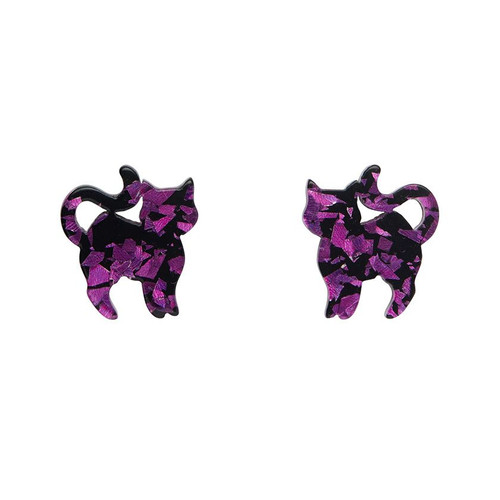 Erstwilder Pussy Cat Chunky Glitter Resin Stud Earrings - Purple