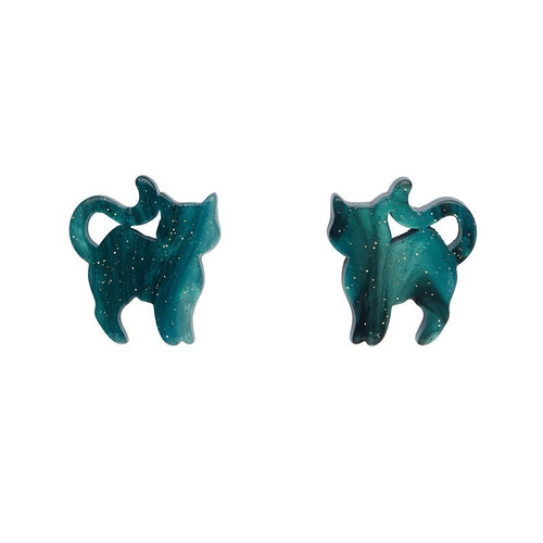 Erstwilder Pussy Cat Ripple Glitter Resin Stud Earrings - Green