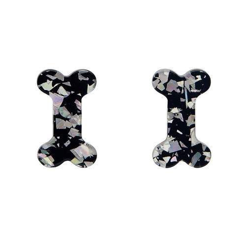 Erstwilder Bones Glitter Resin Stud Earrings - Silver