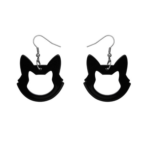 Erstwilder Cat Head Solid Resin Drop Earrings - Black