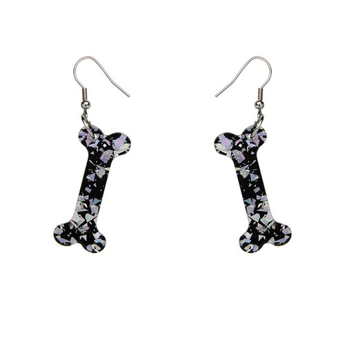 Erstwilder Bones Glitter Resin Drop Earrings - Silver