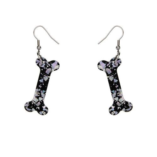 Erstwilder Bones Glitter Resin Drop Earrings - Silver