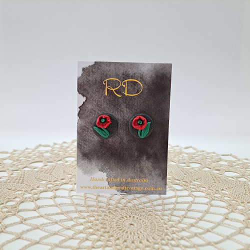 Red Poppies on Sparkly Black 07