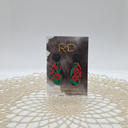 Red & Green Abstract Poppies on Sparkly Black 01