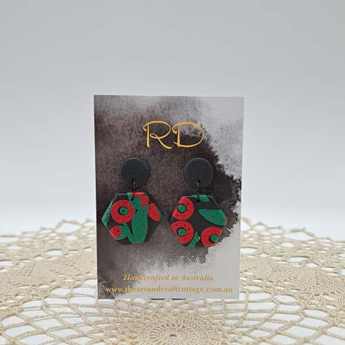 Red & Green Abstract Poppies on Sparkly Black 02