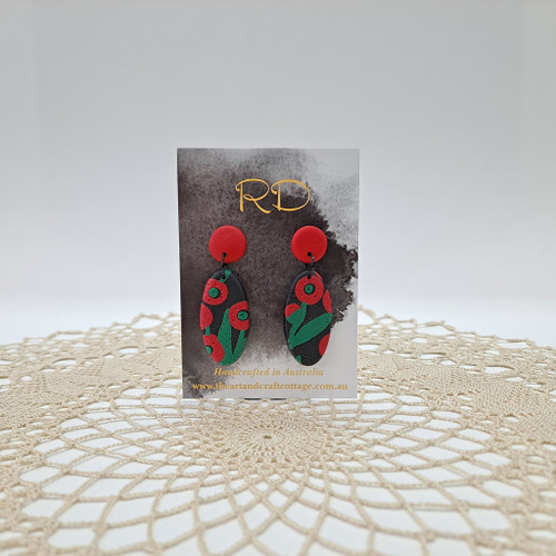 Red & Green Abstract Poppies on Sparkly Black 03