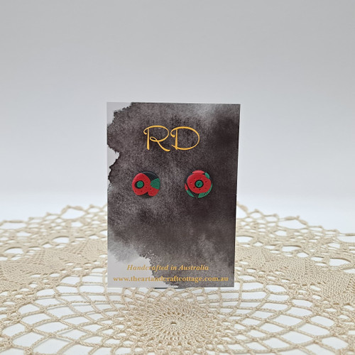 Red & Green Abstract Poppies on Sparkly Black 04