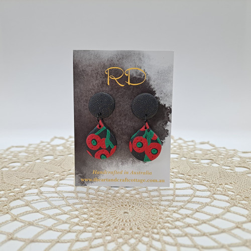 Red & Green Abstract Poppies on Sparkly Black 05