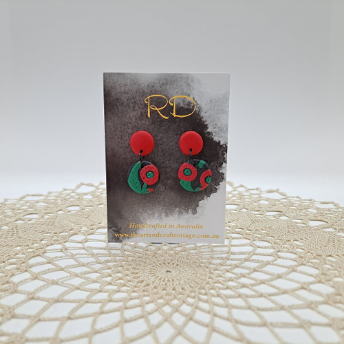 Red & Green Abstract Poppies on Sparkly Black 07