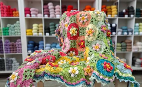 CROCHET Macaroon Blossom Afghan Kit