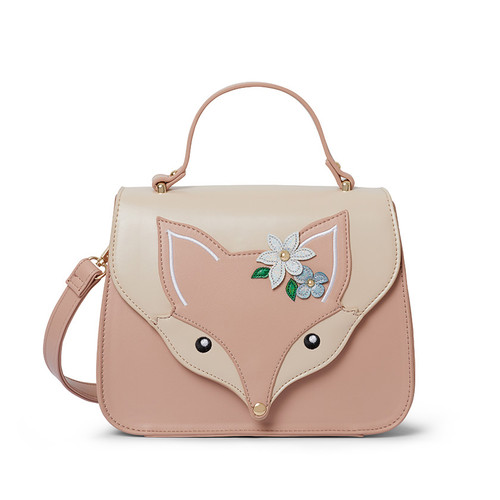 Flora Fox Face Top Handle Bag