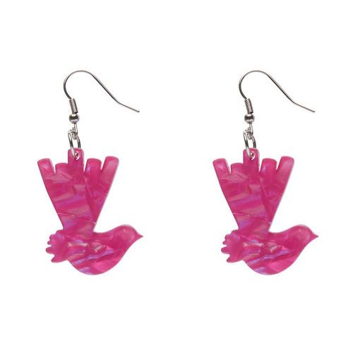 Erstwilder Wagtail Textured Resin Drop Earrings - Fuchsia