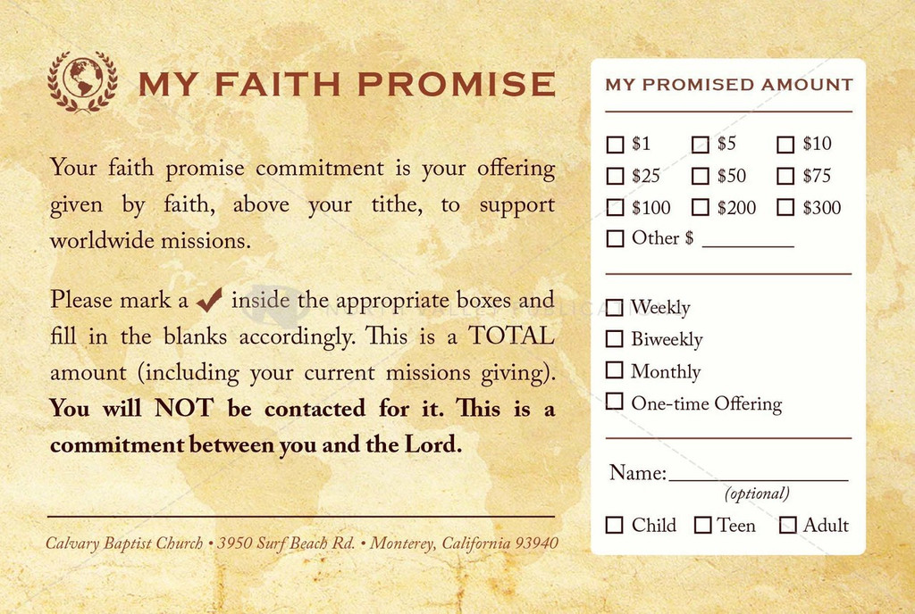 Faith Promise Commitment Card - Non-Perforated (D)