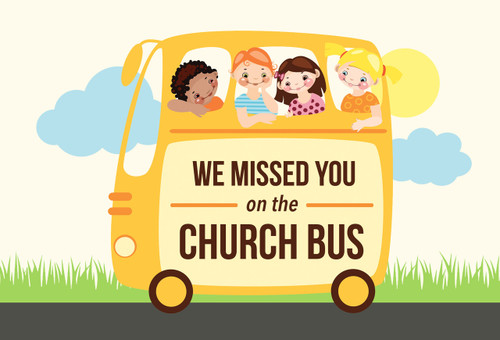 We Missed You on the Church Bus Postcards - Pack of 25