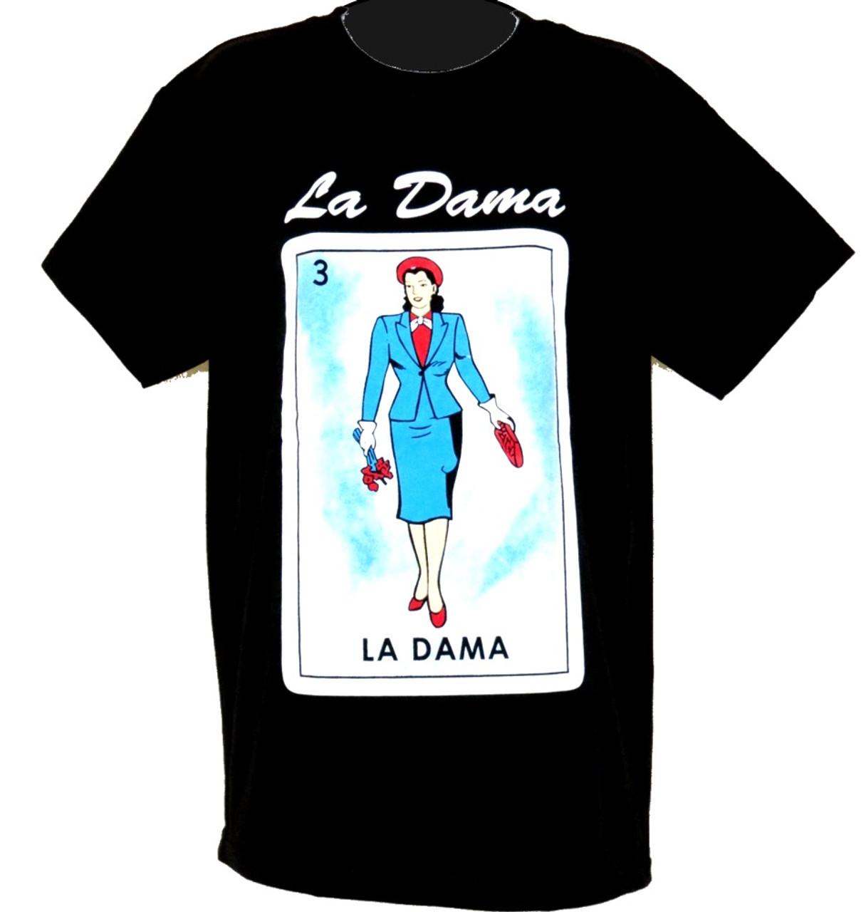 d1e7f4a3 Mexican Loteria T Shirts Cotton Funny Shirts La Dama