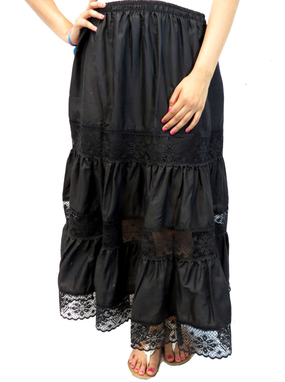 Mexican Skirt With Lace One Size Black