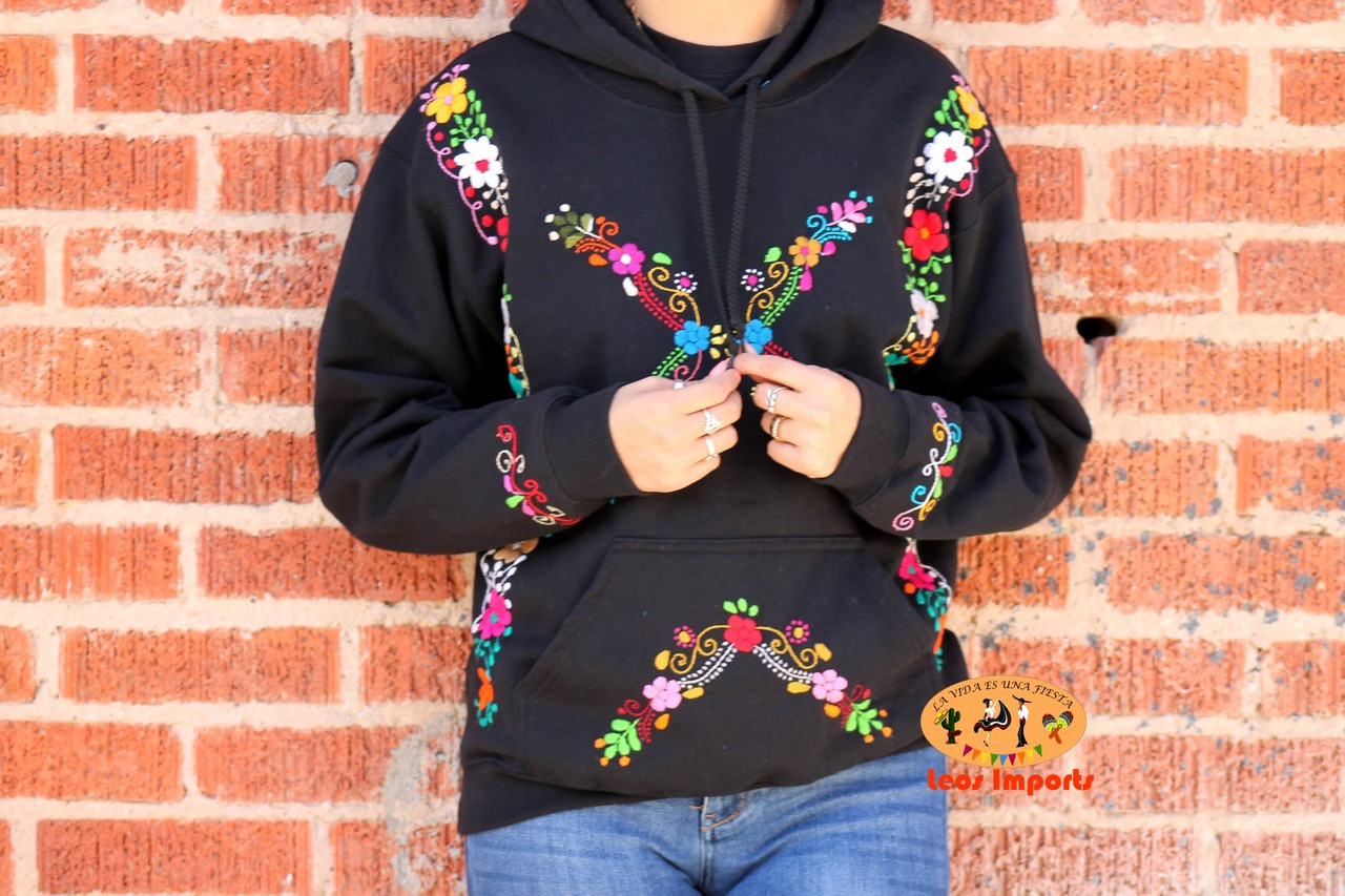 Hand Embroidered Mexican Hoodie Pullover