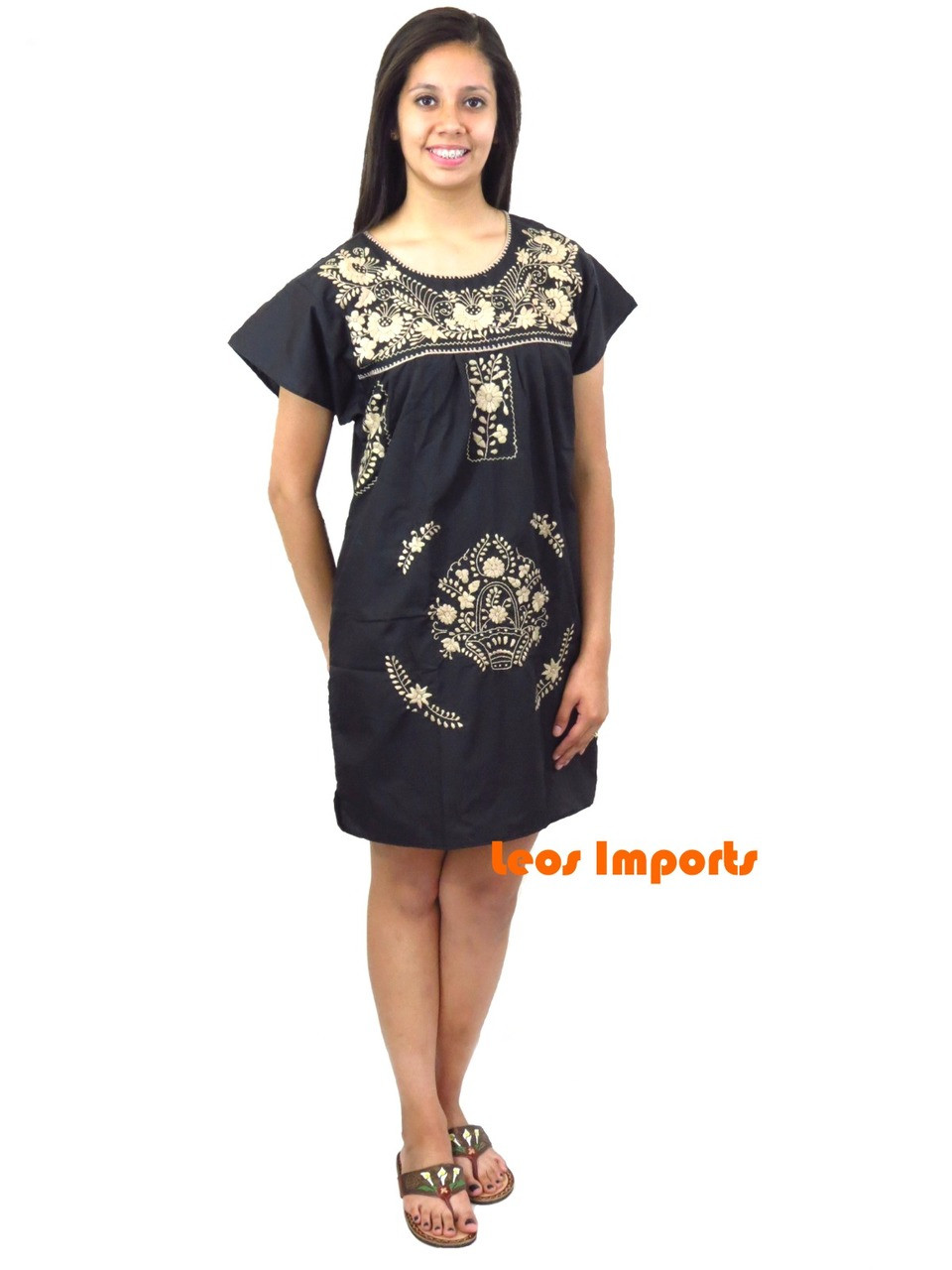 0c599f041c9 Black with tan embroidery short puebla dress