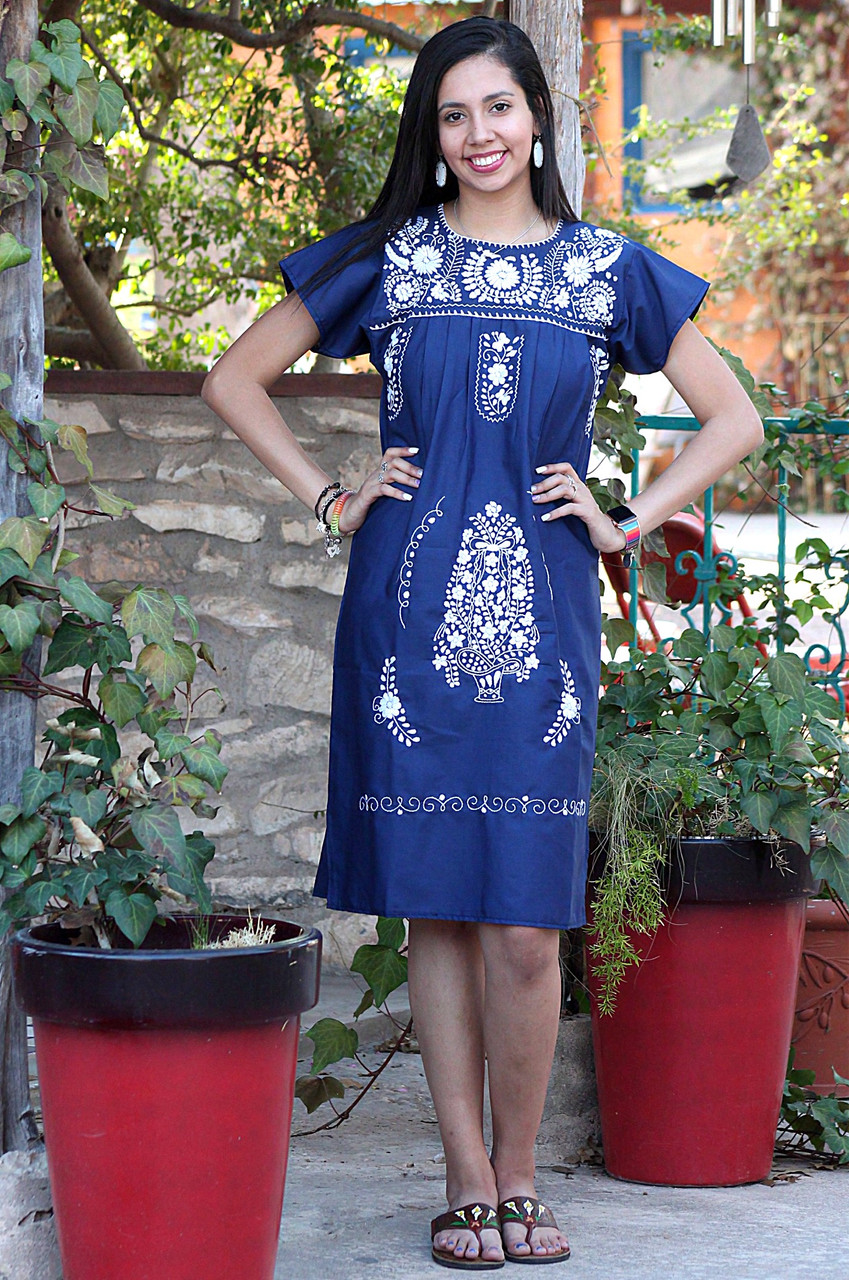 MEDIUM SIZE Hand Embroidered LONG Mexican Puebla Dress hand embroidered Belt Included Mexican Tunic