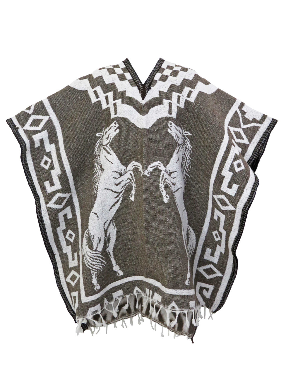 Mexican Poncho Serape Blanket GABAN Reversible Horses Relinchando Black-Gold