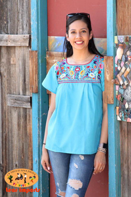 embroidered mexican top blouse puebla