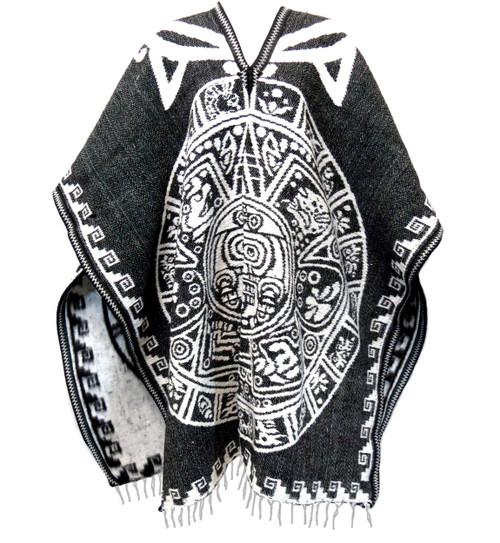 aztec calendar black poncho