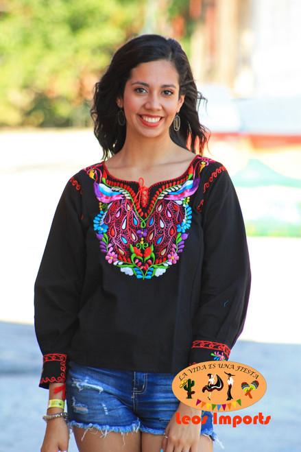Mexican Blouse Peacock Design