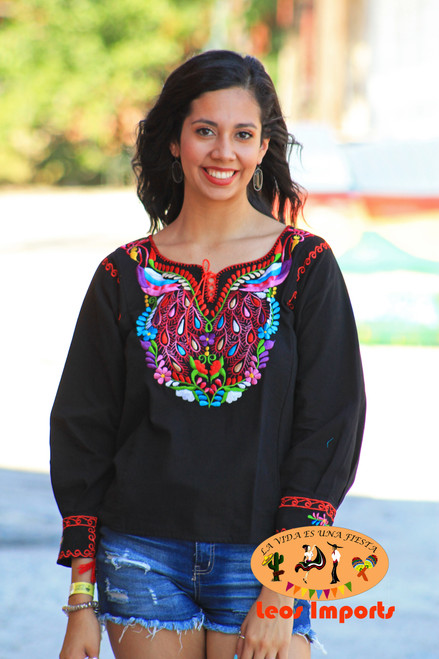 Mexican Blouse Peacock Design