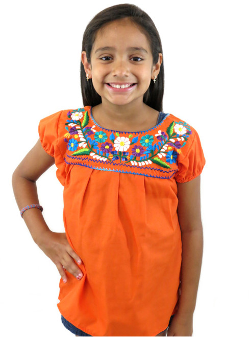 Girls Mexican puebla blouse