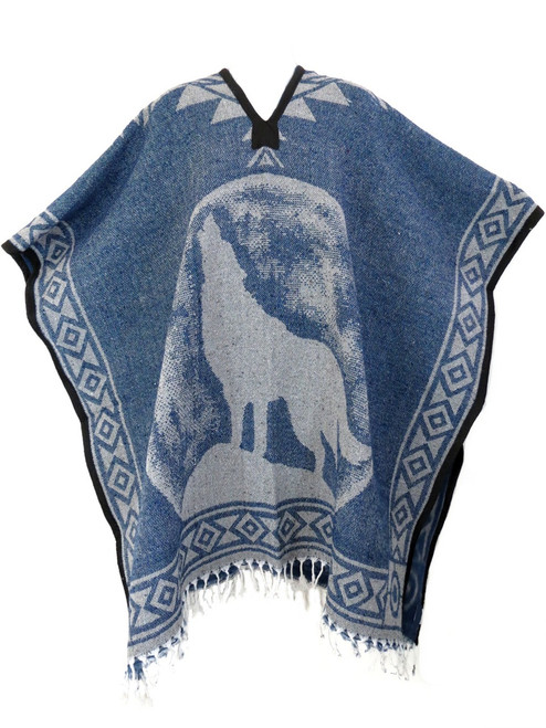 Mexican poncho wolf design in denim color