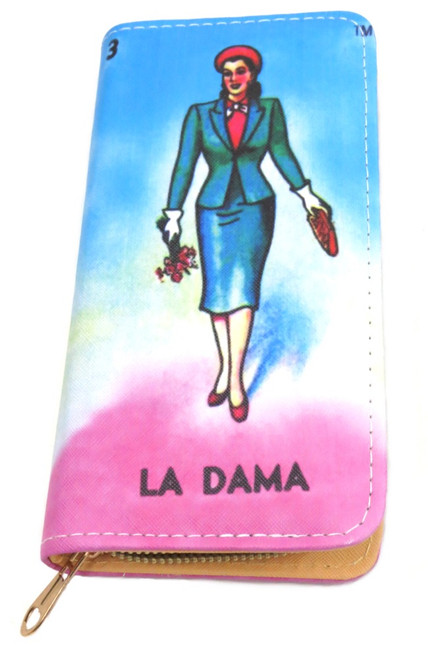 Mexican loteria wallet with zipper