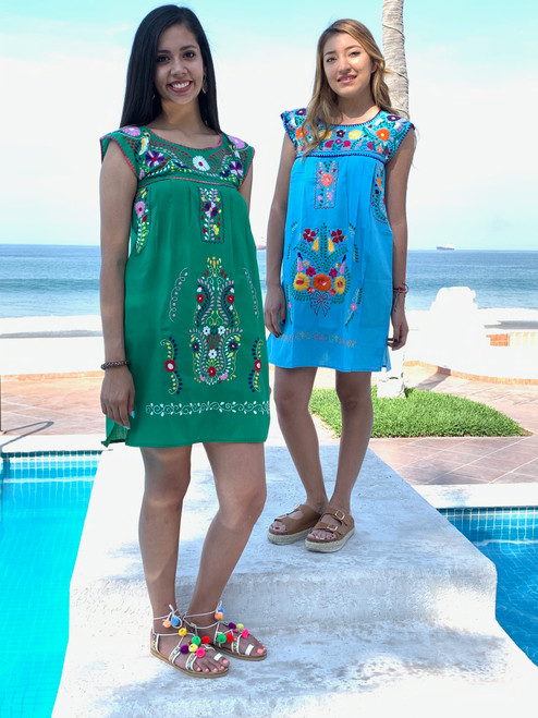 Mexican Dress Sierra Sleeveless Mini Dress Hand Embroidery