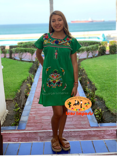 mexican green dress above the knee
