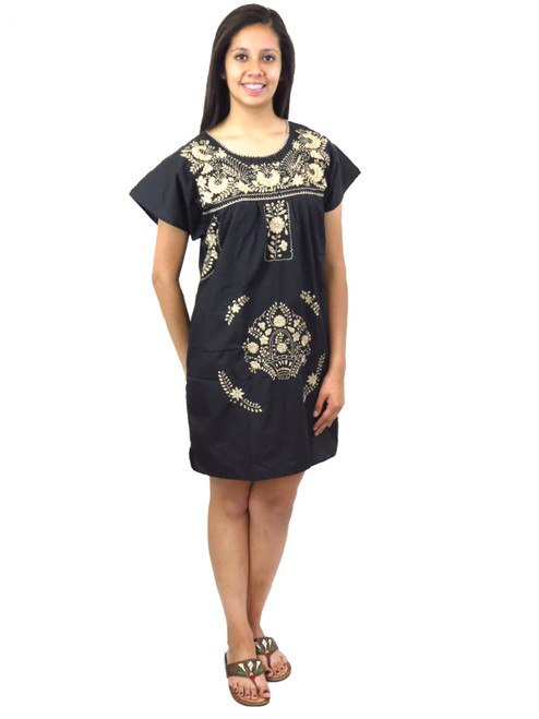 Mexican dress black and tan