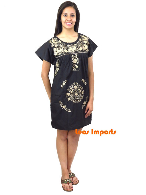 Black with tan embroidery short puebla dress