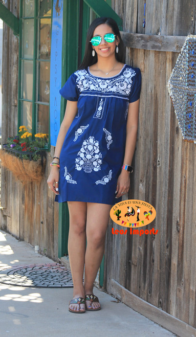 Mexican Dress Puebla Short Mini Dress with Solid Embroidery