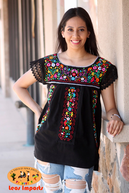 mexican black blouse with embroidery
