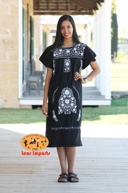 6cb8fe5fafa Traditional Mexican Dress Puebla Short Black with Red Embroidery