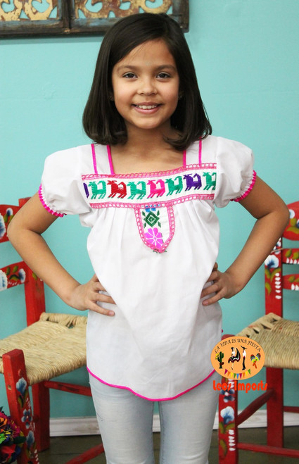 girls mexican interlace blouse