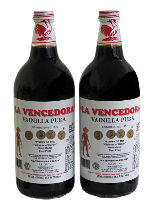 La Vencedora Mexican Vanilla Extract 31oz Each 2 Glass Liter Bottles Product From Mexico FREE SHIPPING