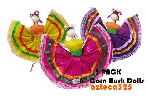 "3 PACK 6"" Mexican Handmade Corn Husk Tamale Tamal Doll"